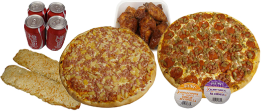 pizza, wings, pop, dipping sauce, garlic bites
